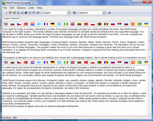 MultiTranse European screenshot: translation, translator, English, Russian, Spanish, Italian, Greek, German, French, Dutch, Bulgarian, Czech, Danish, Finnish, Latvian, Lithuanian, Norwegian, Polish, Romanian, Serbian, Slovakian